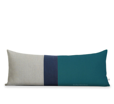 Lumbar Colorblock Pillow - Teal, Navy and Natural Linen