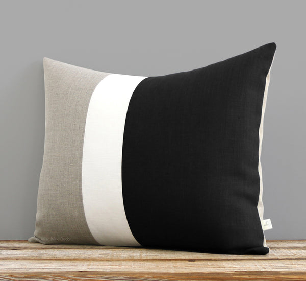 Colorblock Pillow Cover - Black, Cream and Natural Linen