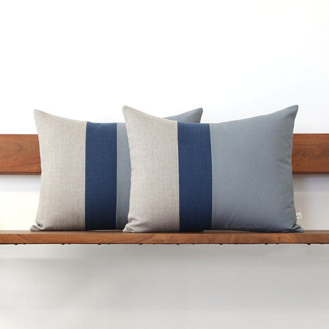 Colorblock Pillow - Grey, Navy and Natural