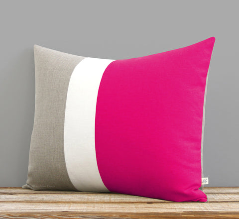 Colorblock Pillow - Hot Pink/Cream/Natural