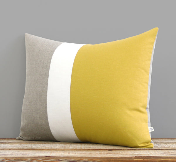 Colorblock Pillow - Mustard, Cream and Natural Linen