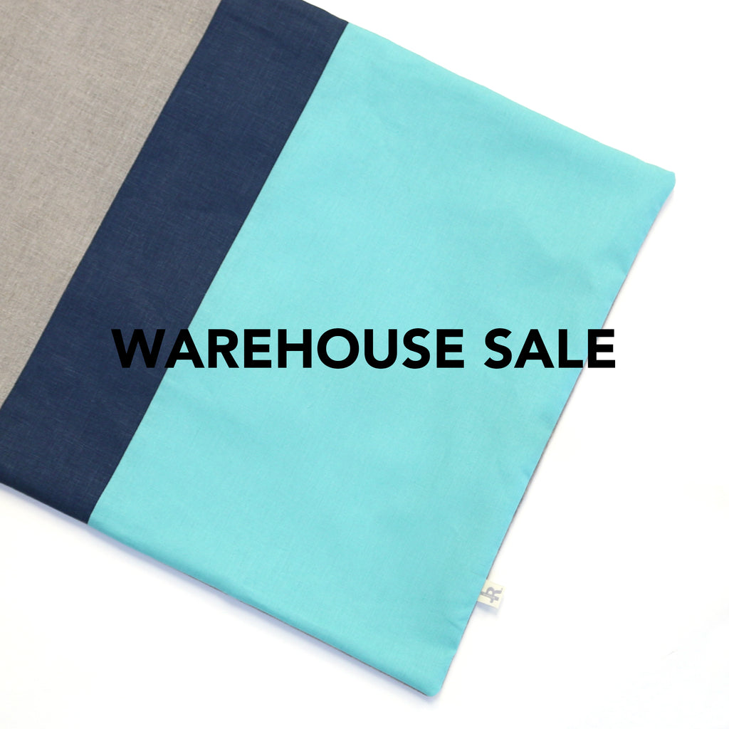 WAREHOUSE SALE 16x20 Colorblock Pillow Cover with Navy Stripe
