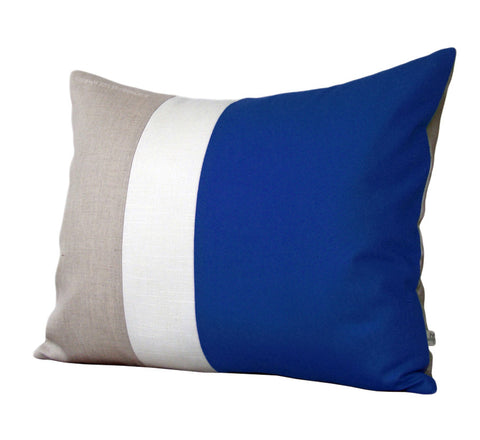 Colorblock Pillow - Cobalt/Cream/Natural
