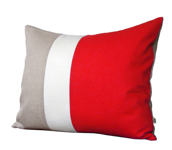 Colorblock Pillow - Poppy/Cream/Natural