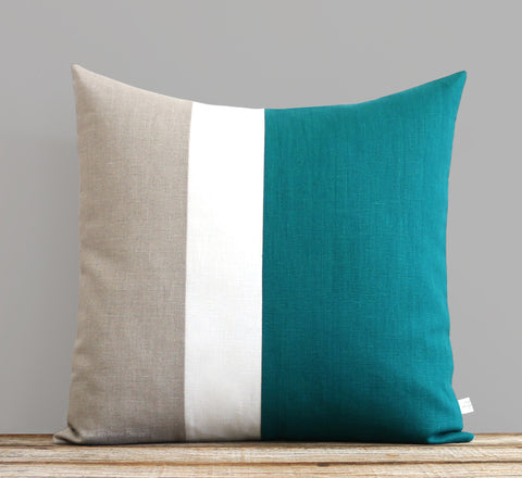 Biscay Bay Colorblock Pillow with Cream Stripe