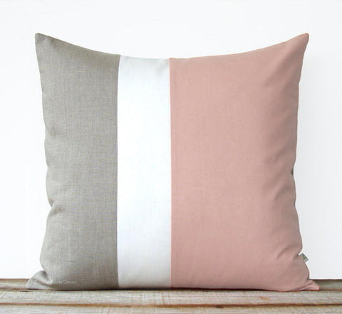 Blush Colorblock Pillow Cover
