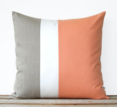Colorblock Pillow - Cantaloupe/Cream/Natural