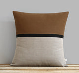 Horizon Line Pillow - Caramel, Black and Natural