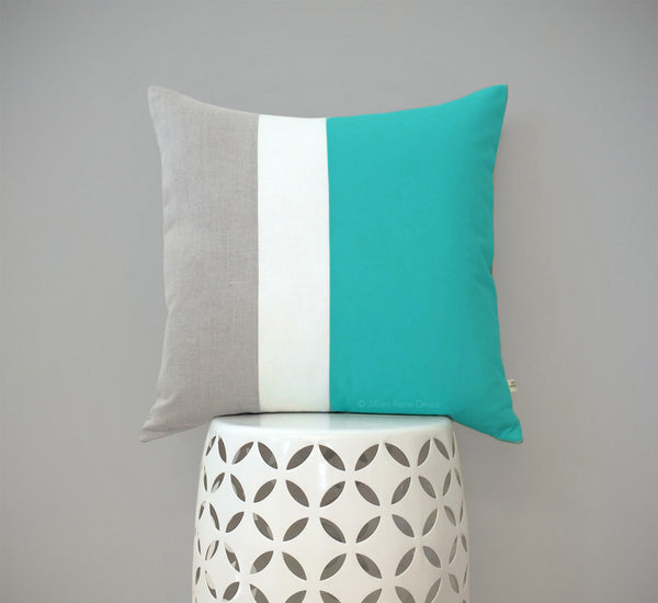 Colorblock Pillow - Turquoise/Cream/Natural