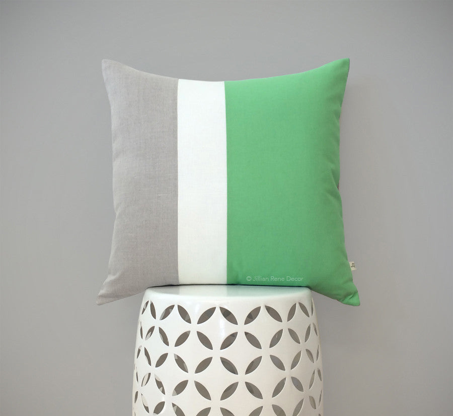 Colorblock Pillow - Jadeite/Cream/Natural