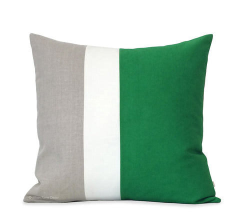 20x20 Colorblock Pillow - Kelly/Cream/Natural