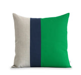 Colorblock Pillow - Kelly/Navy/Natural