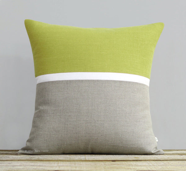Horizon Line Pillow - Linden, Cream and Natural