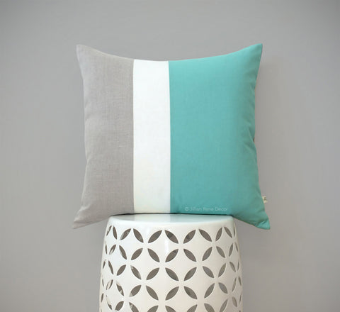 Colorblock Pillow - Mint/Cream/Natural