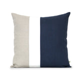Colorblock Pillow - Navy, Cream and Natural