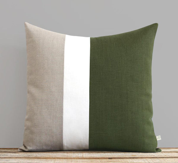 Colorblock Pillow - Olive Green/Cream/Natural