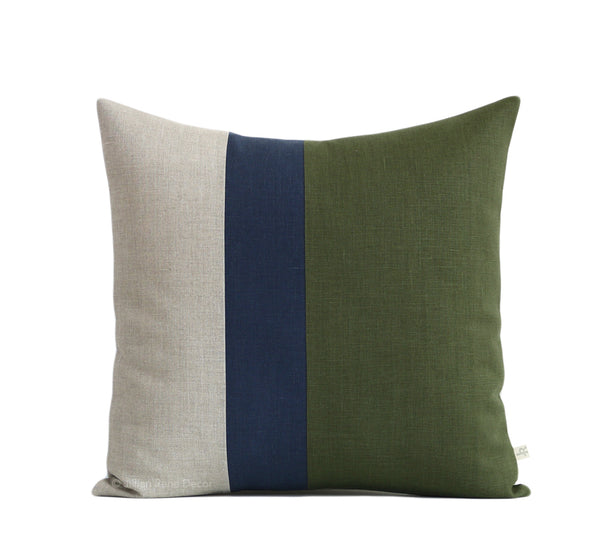 Colorblock Pillow - Olive Green, Navy and Natural