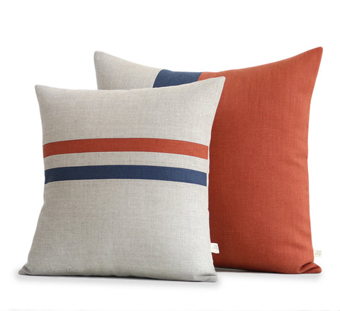 Sienna Pillow Cover Set of 2 with Navy Stripe