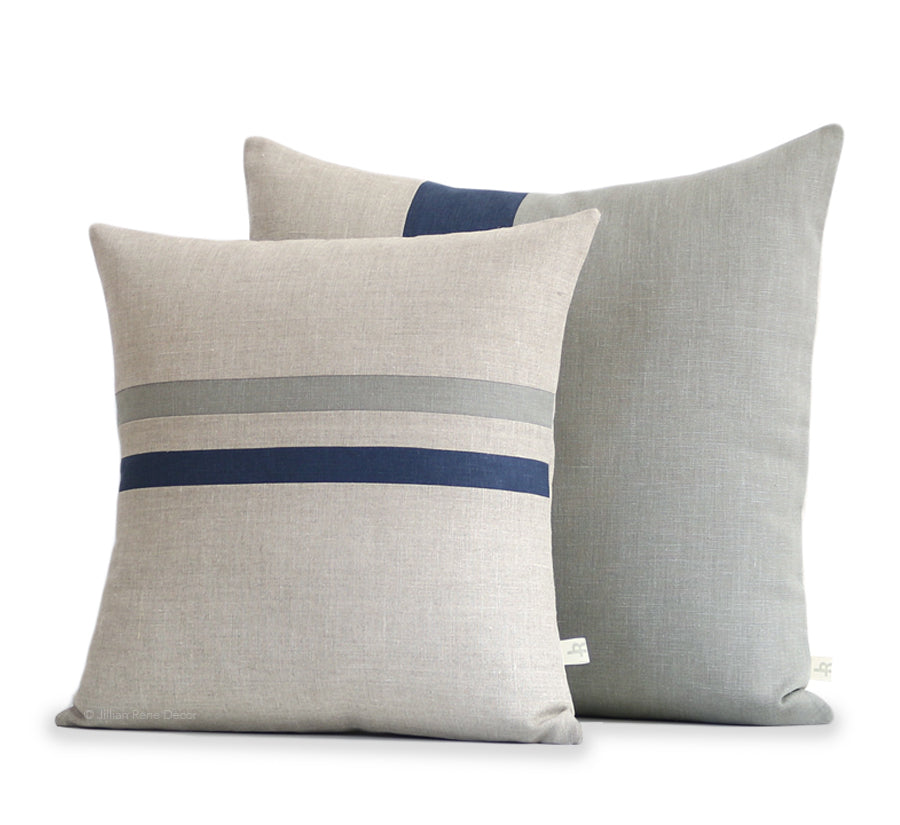 Stone Pillow Cover Set of 2 with Navy Stripe