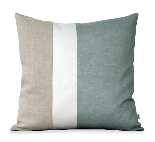 Colorblock Pillow - Sage/Cream/Natural