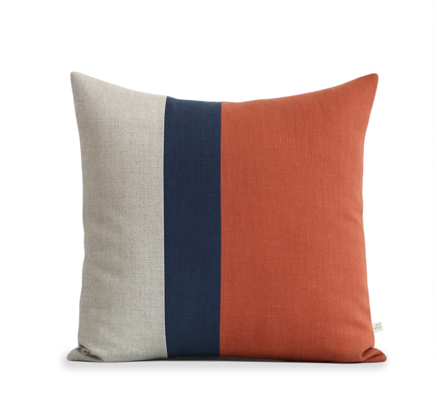 Colorblock Pillow - Sienna, Navy and Natural