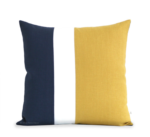 Colorblock Pillow - Squash Yellow, Cream and Navy Linen