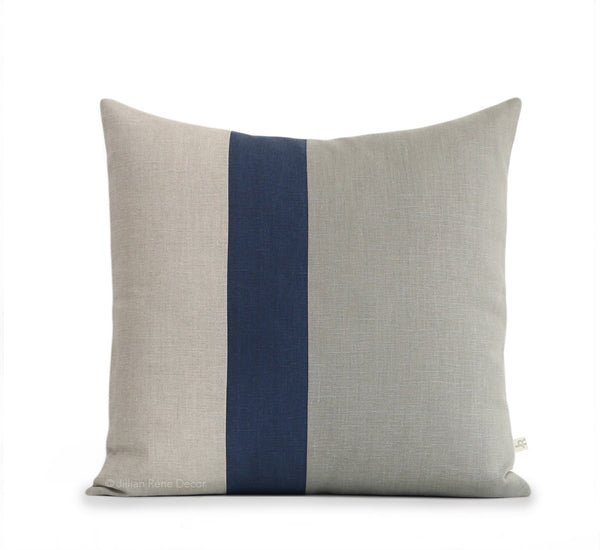 Colorblock Pillow - Stone, Navy and Natural