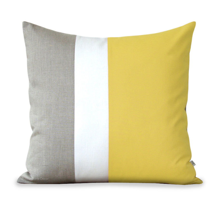 Colorblock Pillow - Yellow/Cream/Natural