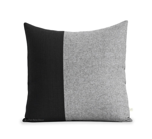 Black Chambray Colorblock Pillow
