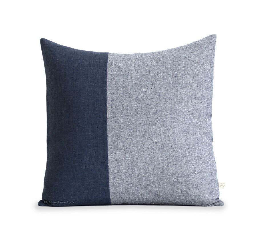 Navy Chambray Colorblock Pillow