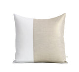 Two Tone Colorblock Pillow - Metallic Gold and Cream Linen
