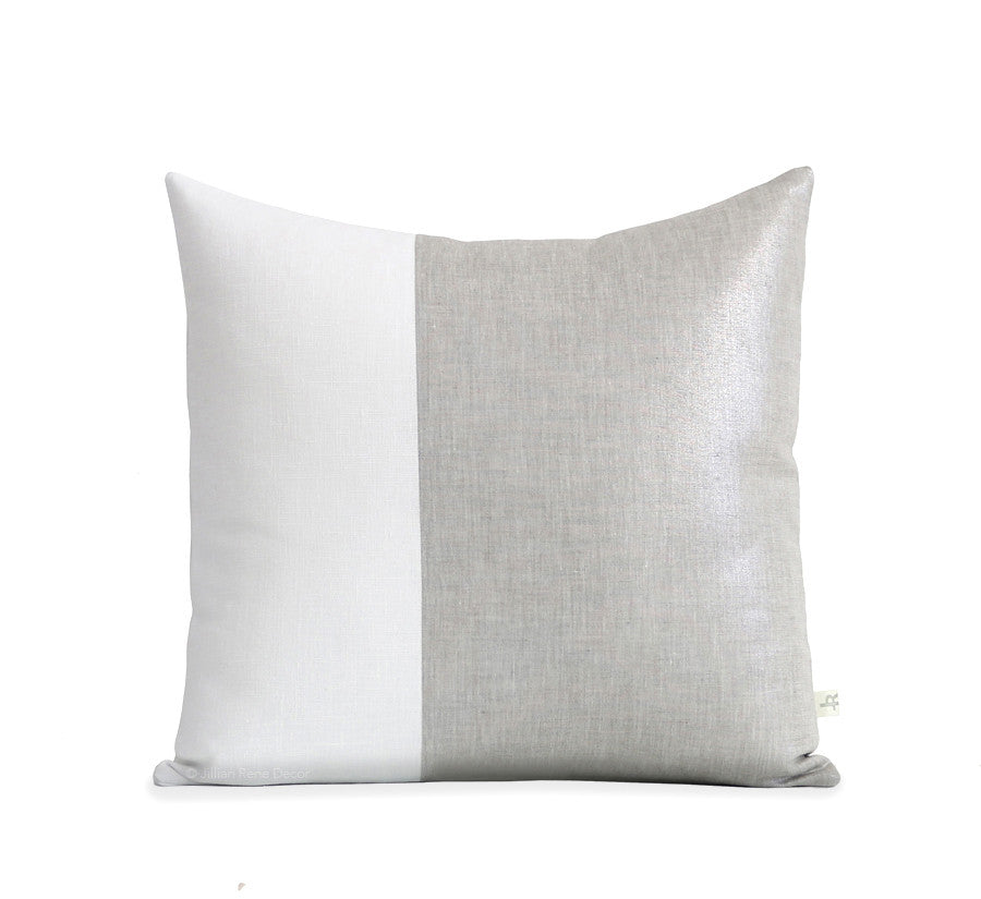 Two Tone Colorblock Pillow - Metallic Silver and Cream Linen