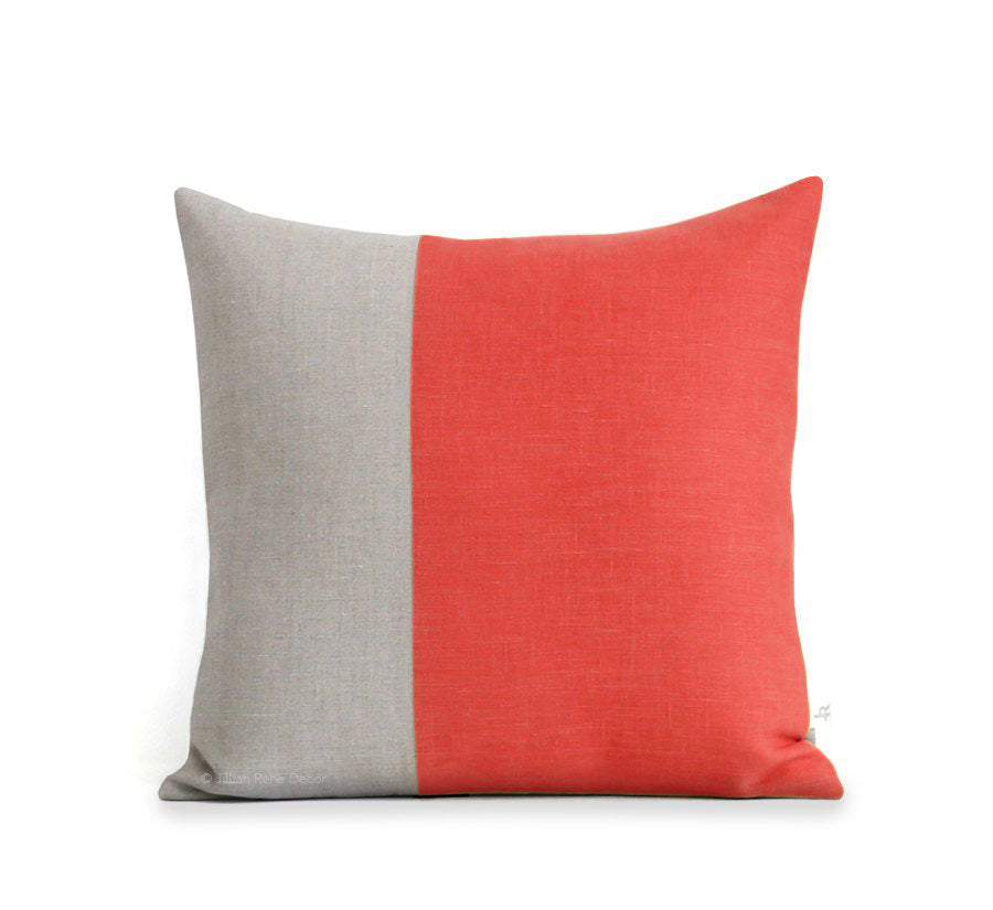 Two Tone Colorblock Pillow - Natural and Coral