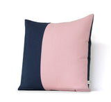 Rose Quartz and Navy Colorblock Pillow