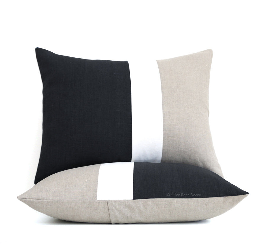 Colorblock Pillow Shams - Black, Cream and Natural Linen