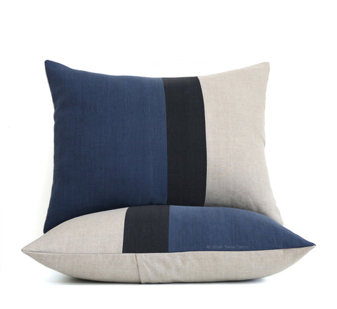 Colorblock Pillow Shams - Navy, Black and Natural Linen