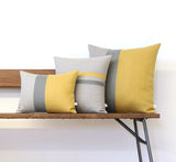 Colorblock and Striped Pillow Set of 3 - Squash Yellow