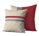Striped Pillow - Marsala/Cream/Natural
