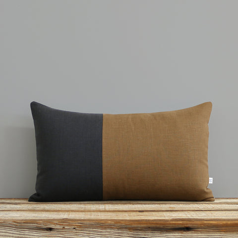 Multicolor Two Tone Colorblock Pillow - Coal and Caramel