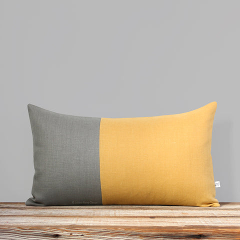 Multicolor Two Tone Colorblock Pillow - Squash and Stone