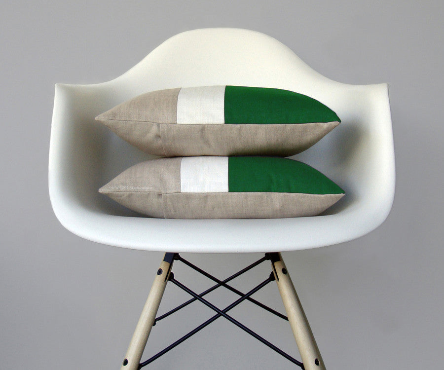 Colorblock Pillow - Kelly/Cream/Natural