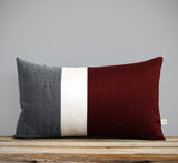 Silk Colorblock Pillow - Merlot