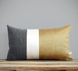 Silk Colorblock Pillow - Ochre