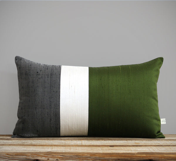Silk Colorblock Pillow - Olive