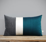 Silk Colorblock Pillow - Deep Teal