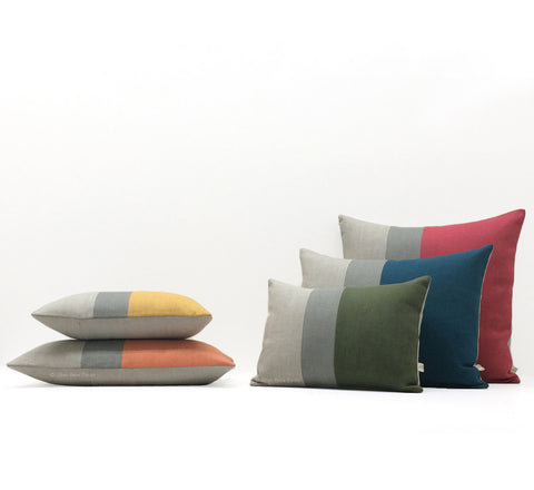 Colorblock Pillow - Custom Color/Stone Grey/Natural