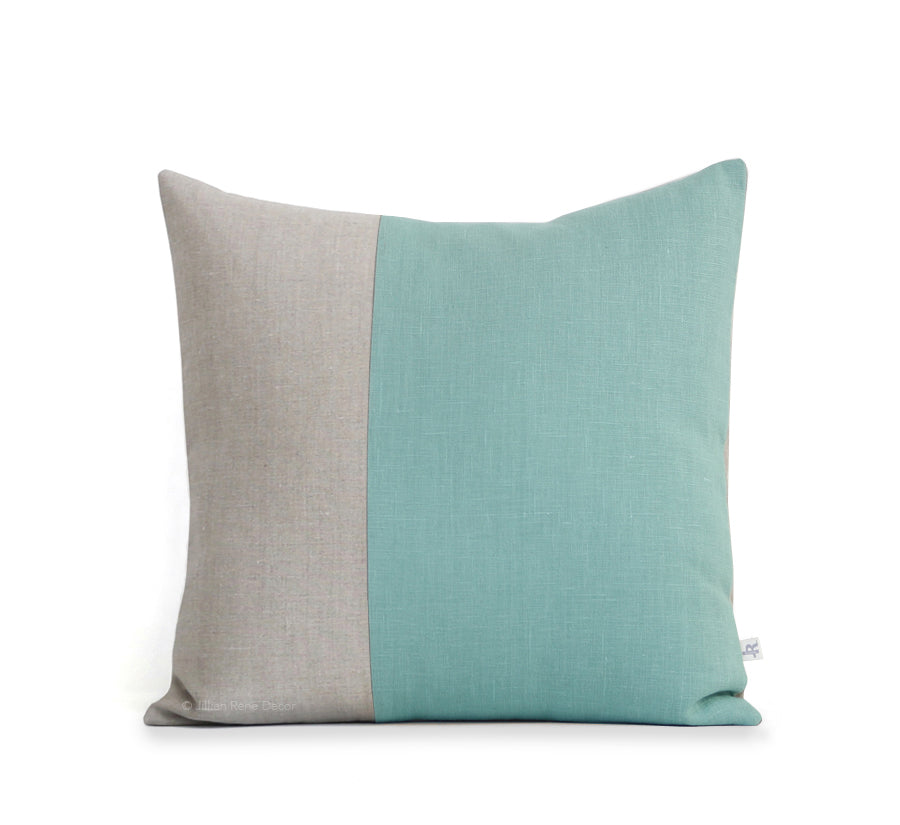 Two Tone Colorblock Pillow - Natural and Aqua