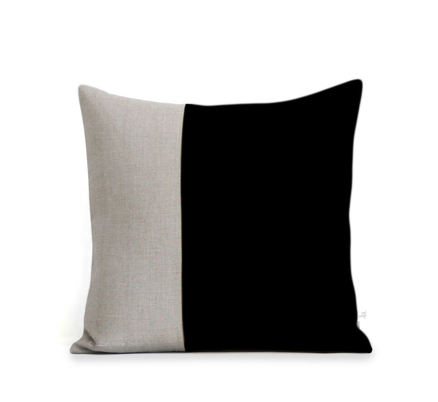 Two Tone Colorblock Pillow - Natural and Black