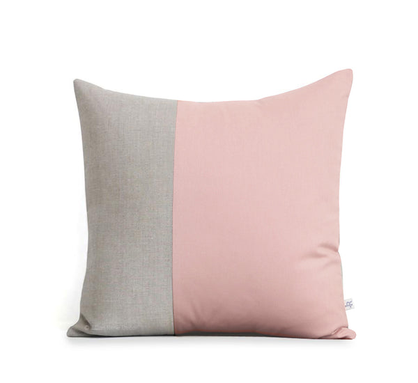 Two Tone Colorblock Pillow - Natural and Blush