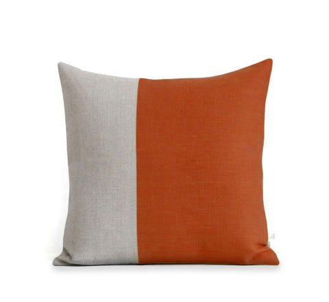 Two Tone Colorblock Pillow - Natural and Burnt Orange